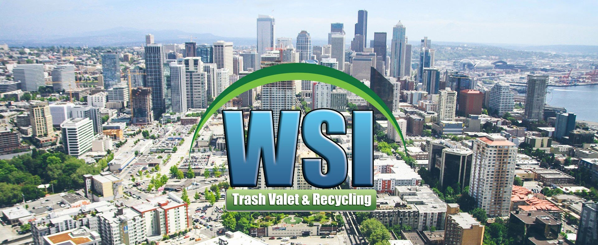 WSI trash valet & recycling logo floating over a panoramic city image